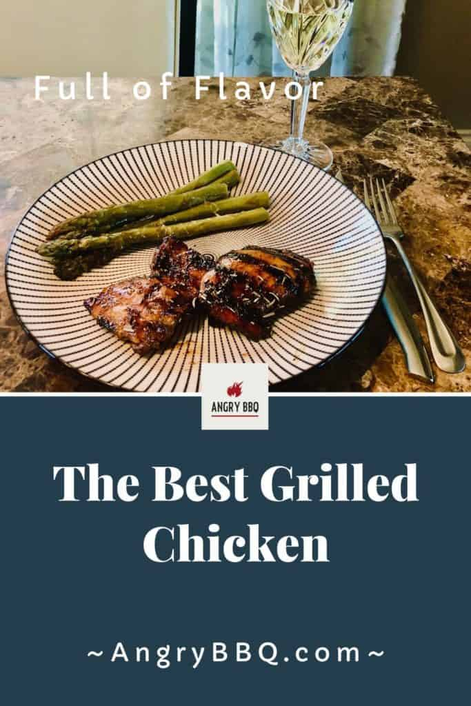This easy and full of flavor grilled chicken thigh recipe is simply the best!  The marinade adds tonnes of flavor and seals in the moisture.  Definitely AngryBBQ approved!