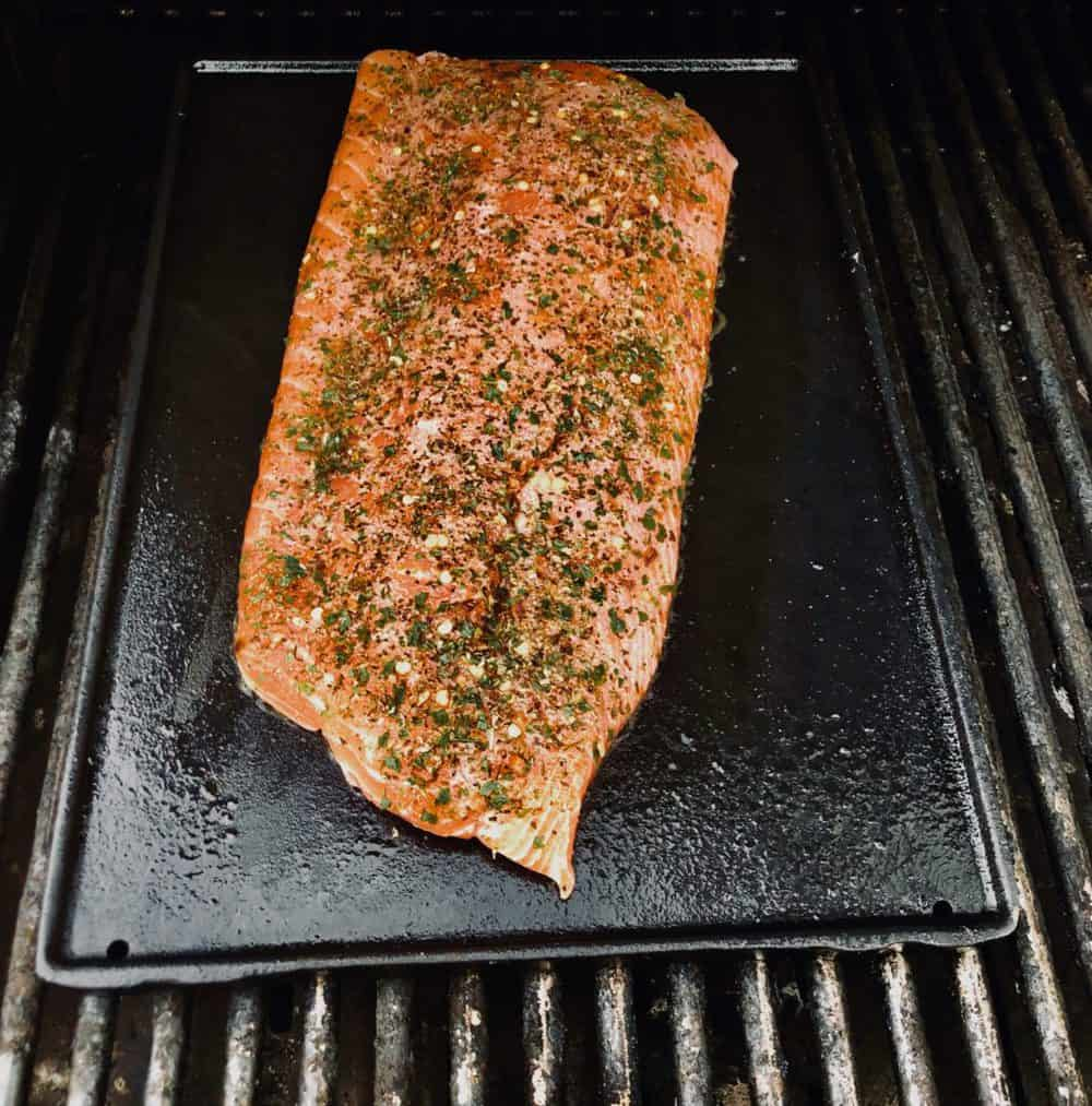 Salmon on griddle