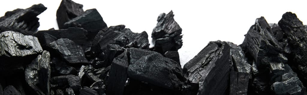 Black and white view of charcoal