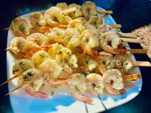 Marinated shrimp on skewers