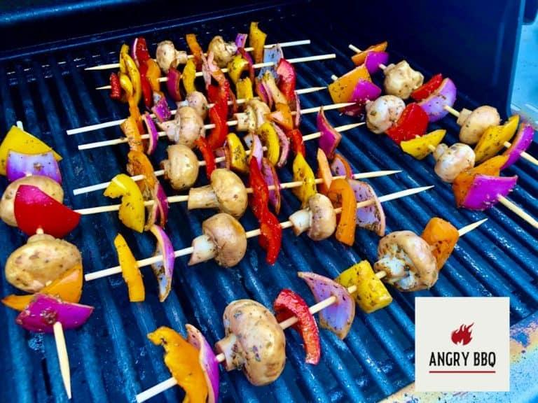 Marinated veggies on grill