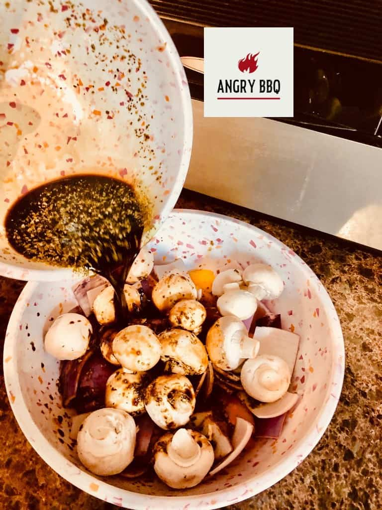 Pouring marinade over veggies