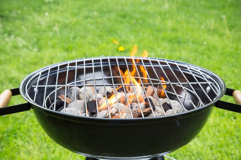 Charcoal grill burning