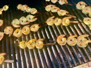 Grilled shrimp on the grill