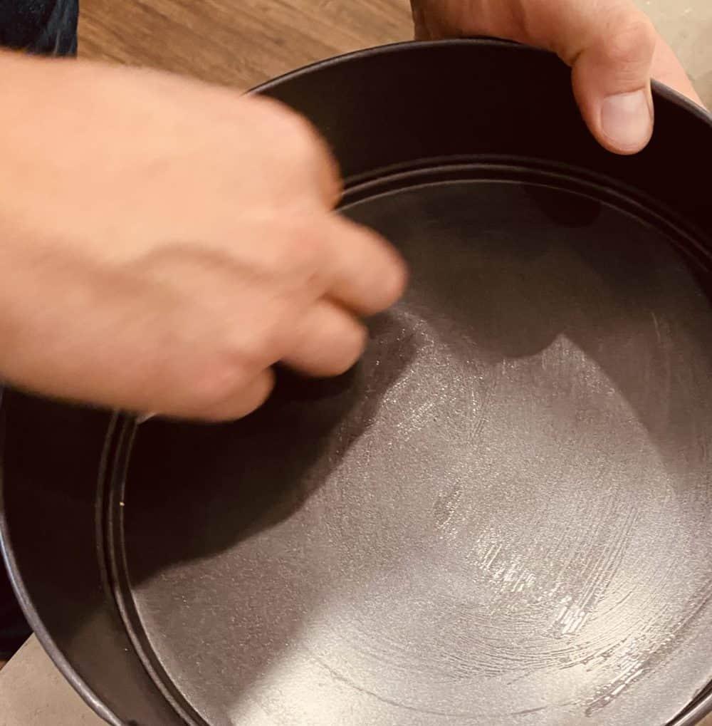 Greasing springform pan