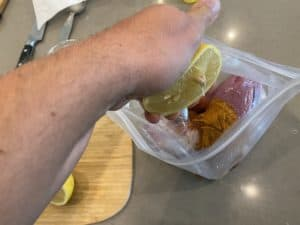 Fresh squeezed lemon juice for souvlaki