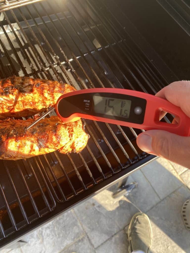 Instant Meat Thermometer Checking Pork Tenderloin