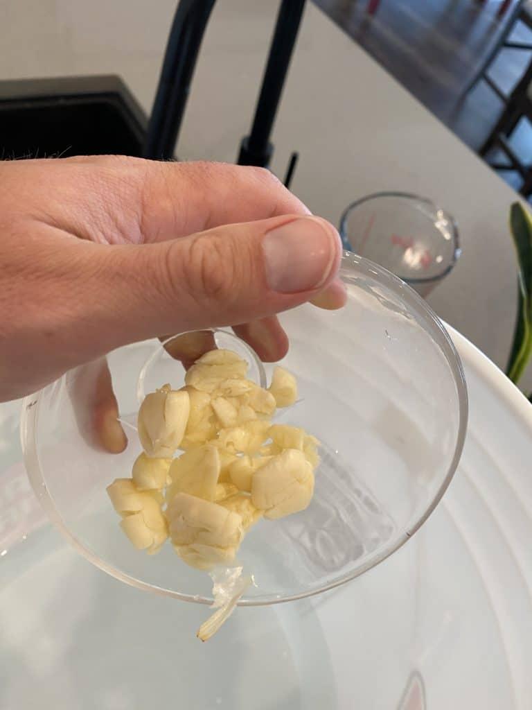 Crushed Garlic Cloves Added to Turkey Brine